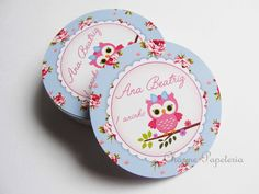 Adesivo para latinha mint to be corujinha rosa e azul floral charme papeteria estúdio criativo