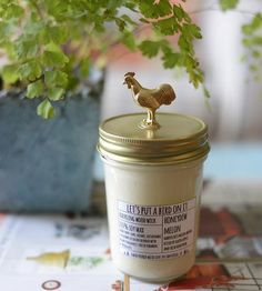 Rooster Lid Honeydew Scented Soy Candle by Let's Put A Bird On It on Scoutmob Shoppe