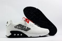 763fecdd2654 Nike Air Max 90 Giant Logo Kpu White Black Mens Shoes Sneakers For Sale