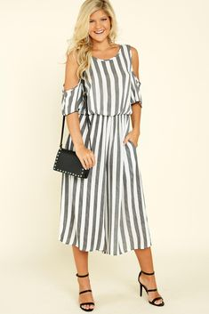 109089c509e Weekend Stroll Grey Striped Jumpsuit at reddressboutique.com   1920SWomensFashion
