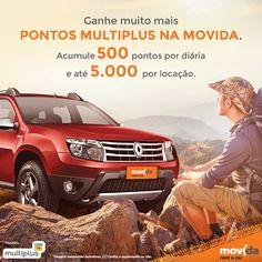Com a #MovidaRentACar e a Multiplus, você ganha até 5 vezes mais!   Alugue AGORA e ganhe 500 por dia e até 5.000 por locação. #VáDeMovida
