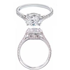 Oval Diamond Horizontal Engagement Ring