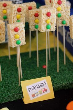 Decorate rice cereal treats with m&ms or skittles and stick them on skewers for instant stop light birthday desserts! Perfect for any vehicle-themed preschool party.