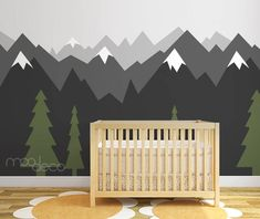 Geometric Woodland Nursery Room Decor Snow Peak Mountain Shelf Forest Reclaimed Wood TriangleMeghann WrightPeel & stick removable wallpaper Ombre gradient mountain pine tree forest scenery wall decal sticker mural My Boys Room Mountains For My Wallpaper Size, Tree Wallpaper, Nature Wallpaper, Baby Bedroom, Baby Boy Rooms, Baby Boy Nurseries, Kids Bedroom, Room Boys, Child Room