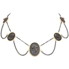 Preowned Grace The Neckline In Georgian Berlin Iron Garlands (11 920 AUD) ❤ liked on Polyvore featuring necklaces, jewelry, link necklaces and multiple