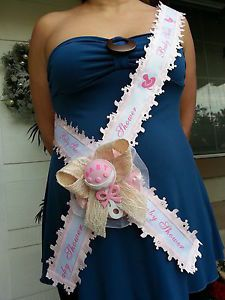 Baby Shower Mom to Be It s A Girl Sash Pink with Rattle Ribbon and Corsage   eBay