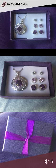 Purple Jewelry Set  Silver necklace with purple gems and three earring set, silver, light purple, and dark purple. Never been worn before still in original packaging  Jewelry Earrings