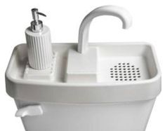 This is Sink Twice. It is the smallest of three available toilet tank sinks by Sink Twice. This allows you to clean your hands with clean water and flush with soapy water and it saves a lot of space in a bathroom (aside from saving money and water). Leaking Toilet, Toilet Sink, Sink Toilet Combo, Toilet Room, Small Toilet, New Toilet, Home Depot, Toilet Tank Cover, Water Saving Devices