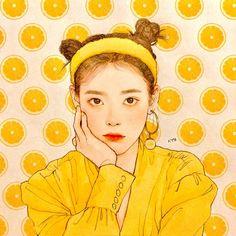 IU Fanart #BBIBBI Kpop Drawings, Art Drawings, Pretty Art, Cute Art, Cat Anime, Korean Art, Fan Art, Kpop Fanart, Anime Art Girl
