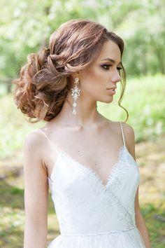 wedding updo and boho wedding dress