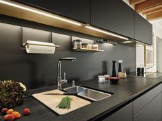 LINE LED LIGHTING - Designer Furniture lights from Santos ✓ all information ✓ high-resolution images ✓ CADs ✓ catalogues ✓ contact information. Kitchen Furniture, Kitchen Interior, Home Interior Design, Kitchen Dining, Furniture Design, Kitchen Under Cabinet Lighting, Kitchen Cabinet Manufacturers, Spanish Kitchen, Quality Cabinets