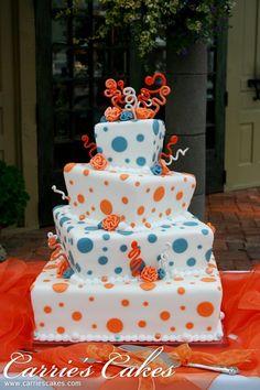 orange and blue wedding cake