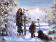 Fan Art of Feeding The Birds for fans of Christmas. birds,winter,christmas,image,gif