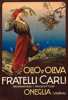 By Mario Borgoni, ca. 1910, Olio d'Oliva Fratelli Carli, Liguria. invaluable.com V T TV BV