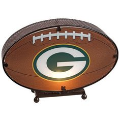 Green Bay Packers Football Shaped Lamp at the Packers Pro Shop http://www.packersproshop.com/sku/2007488036/