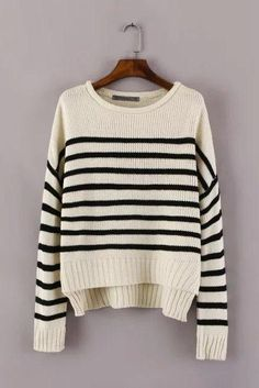 Design striped long-sleeved knit sweater #AD91401Y