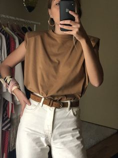 Padded Shoulder Muscle T-Shirt in Mustard, Organic Cotton Basic, Victorian Blouse, Straight Cut Tshi Muscle Tee Outfits, Muscle T Shirts, Basic Outfits, Casual Outfits, Cute Outfits, Simple Outfits, Fall Fashion Outfits, Look Fashion, Summer Outfits