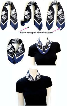 How to line a crew neck with a Gavroche (pocket square scarf) Via