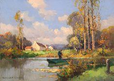 Pecheur a la ligne dans le bras d'une riviere Edouard Cortes