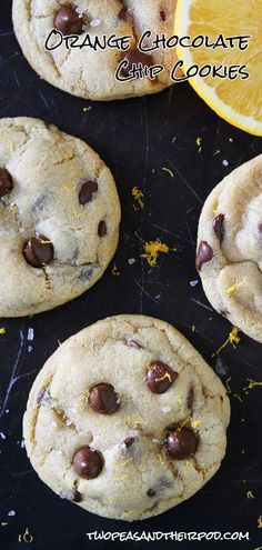 Soft and chewy chocolate chip cookies with a hint of orange and sprinkling of sea salt. Finger Desserts, Cookie Desserts, Sweet Desserts, Dessert Recipes, Best Cookie Recipes, Sweet Recipes, Soft Chocolate Chip Cookies, Cookies Soft, Chocolate Orange