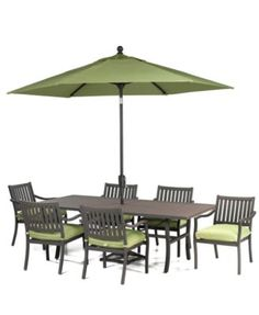 Madison Outdoor Patio Furniture, 7 Piece Dining Set Rectangular Table and 6 Dining Chairs) - Outdoor Dining - furniture - Macy's Outdoor Dining Furniture, Outdoor Living, Dining Table, Outdoor Decor, Patio Yard Ideas, 7 Piece Dining Set, Dining Sets, Furniture Collection, New Homes