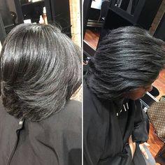 Natural hair Silk Press Pressed Natural Hair, Natural Hair Styles For Black Women, Silk Press, Black Hair, Dreadlocks, Woman, Random, Nature, Beauty