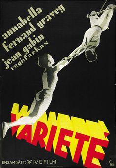 Variétés (1935) Stars: Annabella, Jean Gabin, Fernand Gravey ~ Director: Nicolas Farkas (Swedish Poster)