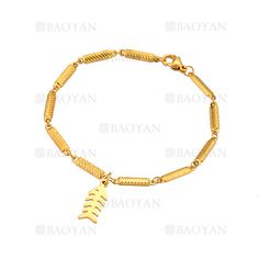 pulsera con espina de pescado de dorado en acero para mujer-SSBTG1094328