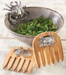 "Bamboo salad hands are accented with chrome plated crab icons.  Size: 5 3/4"" x 5 1/4"