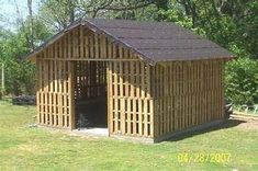 a shed made out of pallets, this one is for goats