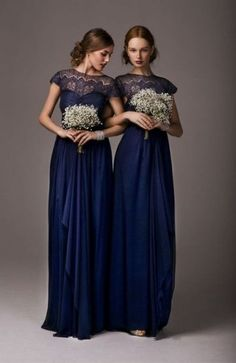 20 Amazing Navy Blue Bridesmaid Dress Ideas: #1. Adorable maxi dresses with lace