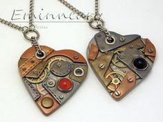 кулоны с сердцами в стиле стимпанк