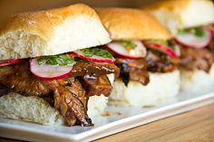 Smoky Hoisin Steak Sliders with Marinated Radishes and Spicy Asian Slaw