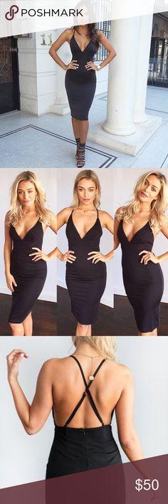 Black dress mid length upper