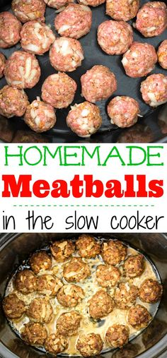Easy slow cooker homemade meatballs. Just set it and forget it with these easy home style meatballs for dinner. #meatballs #SlowCooker #homemadeRecipe