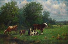 Artwork by Rosa Bonheur, Landscape with Cattle, Made of oil on canvas