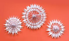 DIY paper snowflake decorations   How About Orange -- looks like even very young kids could make these