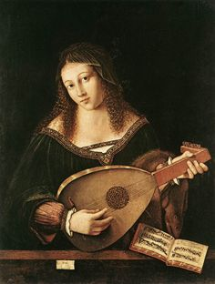 Lady Playing Lute by Bartolomeo Veneto (active 1502 – 1546). See the full article: http://www.thisisclassicalguitar.com/bartolomeo-veneto-lady-playing-lute/ #guitar #classicalguitar #lute