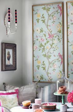 DIY framed wallpaper. Rental friendly! Gives you the look of wallpaper without the hassle of placing it directly on the wall.