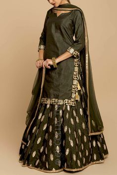 Tunic & Lehenga set features gotawork on moss green sillk with sheer, net dupatta. Sharara Designs, Lehenga Designs, Kurti Designs Party Wear, Indian Wedding Outfits, Pakistani Outfits, Indian Outfits, Indian Designer Suits, Lehnga Dress, Indian Gowns Dresses