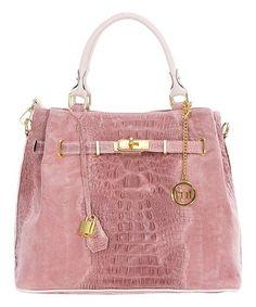 0a65c5bbda38 Pink Croc-Embossed Leather Satchel  zulilyfinds Best. Best HandbagsTote ...