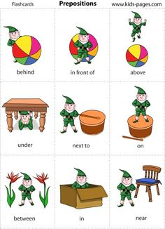 Elf prepositions + linking to site of pdf flashcards many categories Speech Therapy Activities, Speech Language Pathology, Language Activities, Speech And Language, Preposition Activities, Preposition Pictures, Greek Language, English Vocabulary, English Grammar