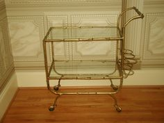 Italian Wine Cart Gilt Over Metal 20th Century