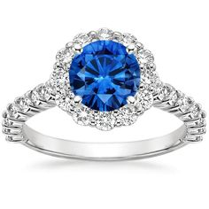 Platinum Sapphire Lotus Flower Diamond Ring with Side Stones from Brilliant Earth