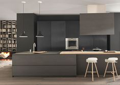 Modern and Contemporary Kitchen Cabinets Design Ideas 53 Kitchen Cabinet Design, Kitchen Interior, Modern Interior, Interior Design, Kitchen Furniture, Contemporary Kitchen Cabinets, Modern Kitchen Design, Black Kitchens, Home Kitchens