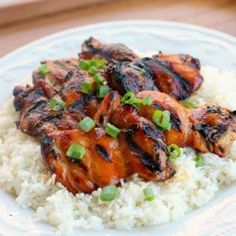 Hawaiian Grilled Chicken -- 3 lb of boneless skinless chicken thighs; 2 cups soy sauce;2 cups water; 1 1/2 cups brown sugar; 1 bunch of green onions, chopped (reserve some for garnish); 1/4 cup of a white onion, chopped; 1/2 teaspoon minced garlic; 1 tsp of sesame oil; 1 (13.5 oz) can of coconut milk