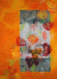 Leaves art quilt by Linda Waddle. Mountain Art Quilters: January 2014.