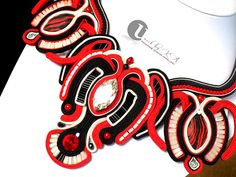 Hungarian Folklore Embroidery motifs inspired Soutache Necklace