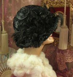 1920's Vintage Style Black Sequin Rose Feather Floral Cloche Flapper Hat | eBay