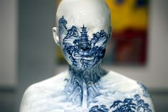 Porcelain Busts Imprinted with Chinese Decorative Designs by Ah Xian sculpture porcelain landscapes China ceramics.